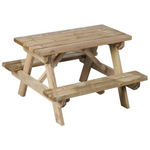 Mesa de jardín para niños de madera maciza aurea neutro de 90x56.5x90 cm