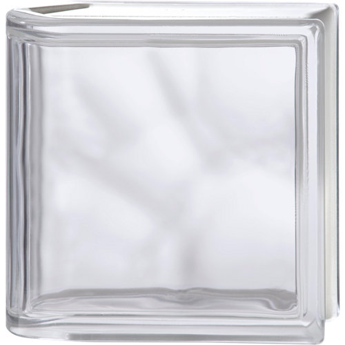Bloque de vidrio terminal ondulado neutro 19x19x8 cm