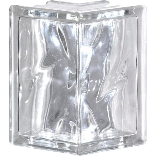 Bloque de vidrio terminal ondulado ángulo 19x19x8 cm