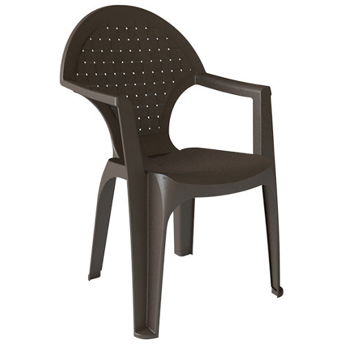 Silla de exterior de polipropileno dream marrón