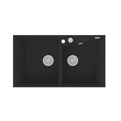 Fregadero 2 senos de resina rectangular poalgi kuma 304 90x86cm