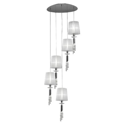 Lámpara de techo tiffany blanca 5 luces