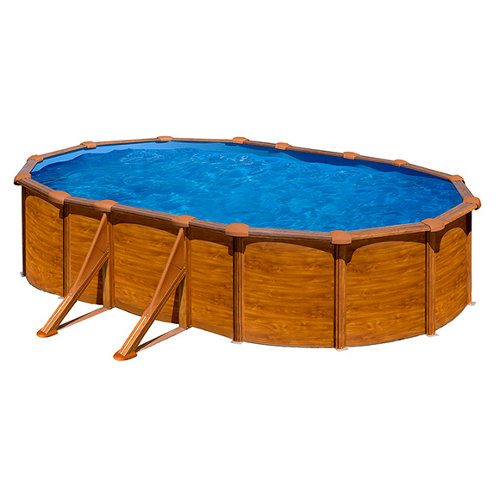 Piscina desmontable ovalada gre 610x375x132 cm imitación madera marrón