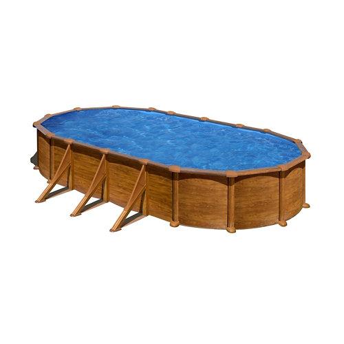 Piscina desmontable ovalada gre 730x375x132 cm imitación madera marrón