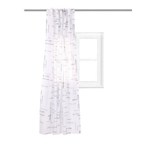 Visillo alsacia con motivo objetos gris de 140 x 220 cm