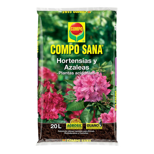 Sustrato para hortensias y azaleas compo sana para plantas acidófilas 20l