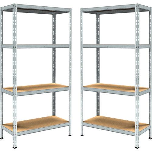 Lote de estanterías metálicas en kit de 40x90 cm y carga max. 200 kg por balda