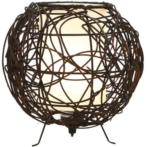 Lámpara de mesa rattan marrón