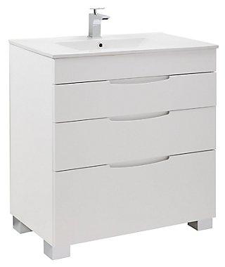 Mueble Baño Asimétrico Blanco Brillo 80 X 45 Cm Leroy Merlin