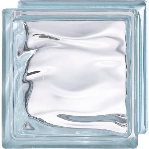 Bloque de vidrio ondulado azul polinesia 19x19x8 cm