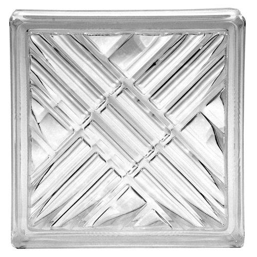 Bloque de vidrio cuadriculado neutro 19x19x8 cm