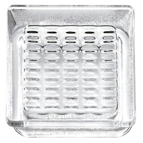 Bloque de vidrio cuadriculado neutro 14,5x14,5x5,5 cm