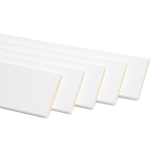 Pack de 5 jambas madera rechapado blanco 7x220x1 cm