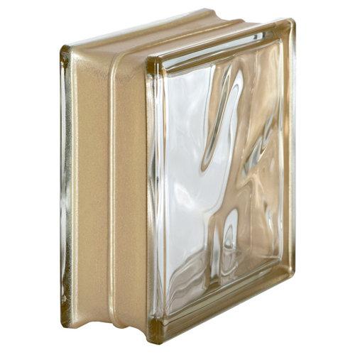 Bloque de vidrio reflejos ondulado oro 19x19x8 cm