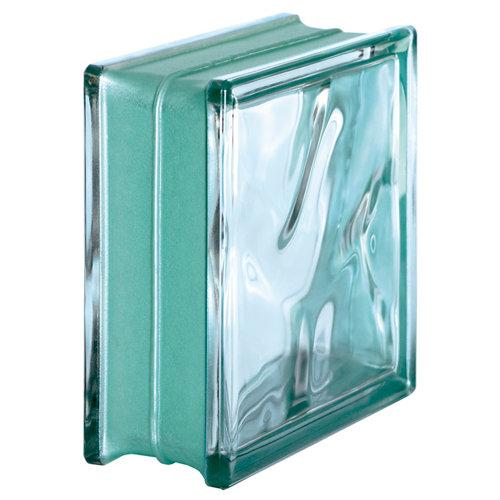 Bloque de vidrio ondulado reflejos verde 19x19x8 cm