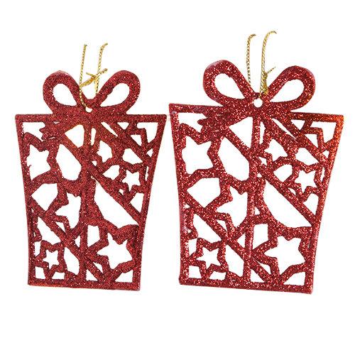 Set de 2 colgantes de copo de nieve rojos 8x10 cm