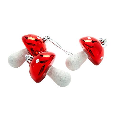 Set de 3 adornos setas rojo y plata 8 cm