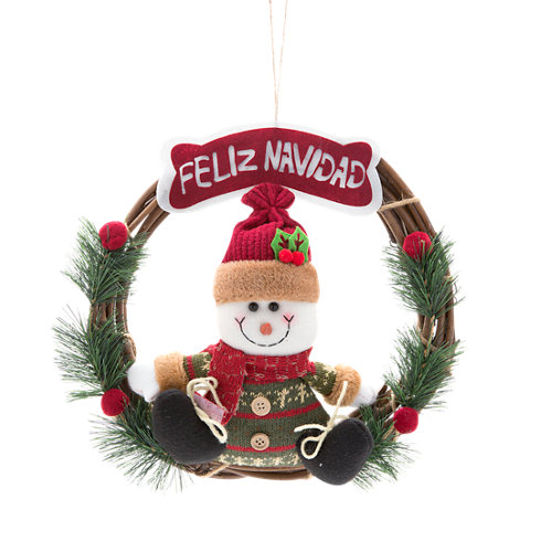 Corona navideña para puerta muñeco de nieve ø 30 cm