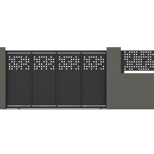 Puerta corredera tetris 350x200 cm óxido