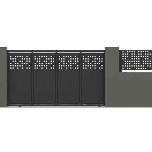 Puerta corredera tetris 400x200 cm óxido