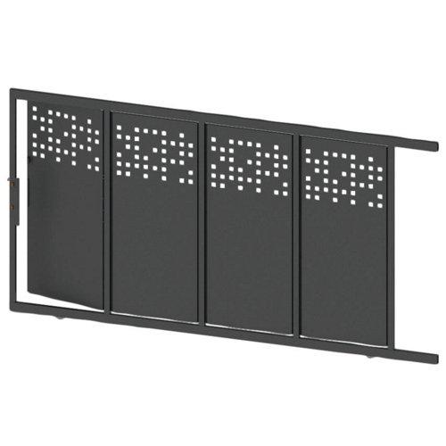 Puerta corredera+peatonal tetris up gris forja 350x200 cm