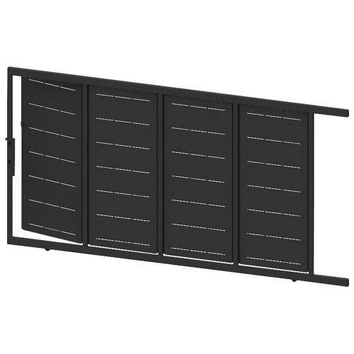 Puerta corredera+peatonal lines negra 400x200 cm