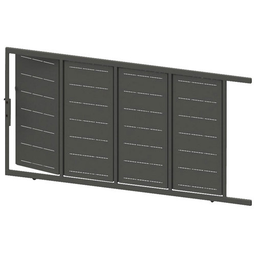 Puerta corredera+peatonal lines gris forja 400x200 cm