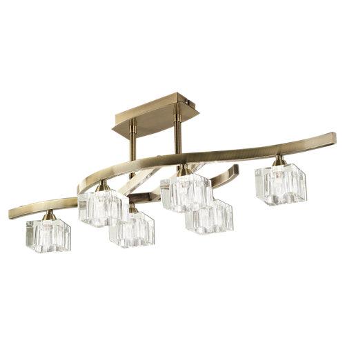 Lámpara de techo led cuadrax gris 6 luces