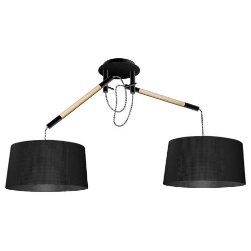 Lámpara de techo nordica negra 2 luces