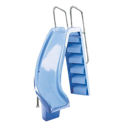Tobogán de poliéster reforzado con fibra de vidrio azul