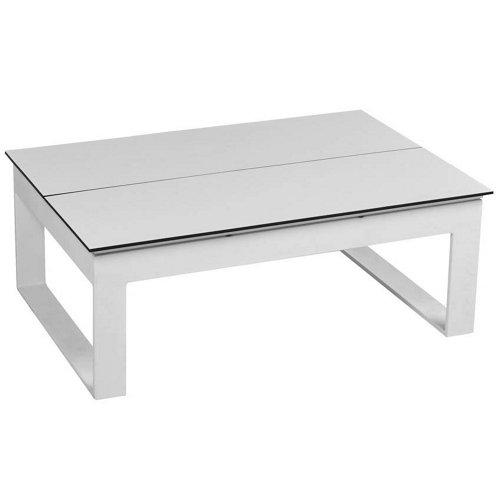 Mesa de jardín baja de aluminio marítimo blanco de 80x46x120 cm