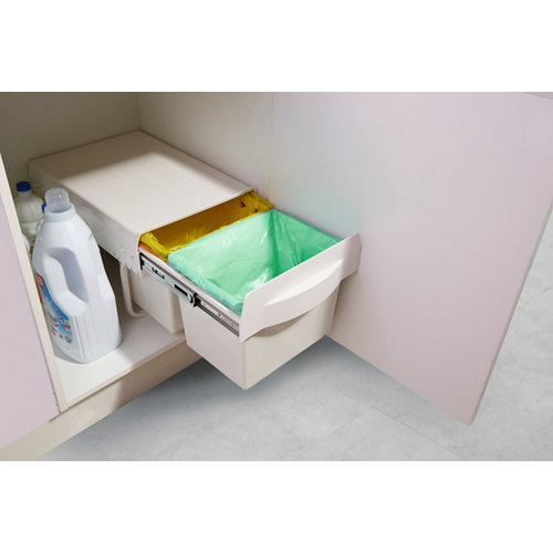 Cubo para interior extraíble 2x15 litros