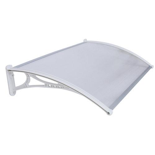 Marquesina de policarbonato blanco y cubierta blanco 21x120 cm