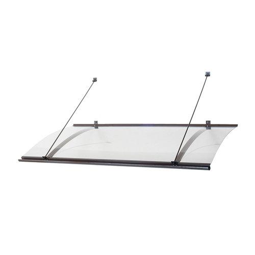 Marquesina de aluminio gris y cubierta de acrílico gris 64,5x160 cm