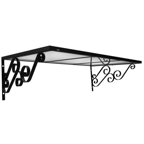 Marquesina de aluminio negro y cubierta de policarbonato rígido blanco 43x140 cm