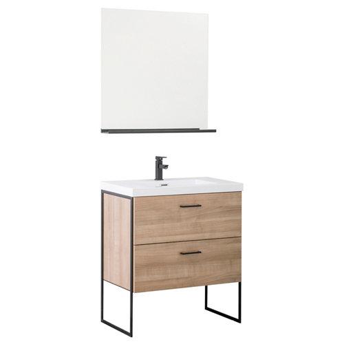 Mueble de baño con lavabo tecnic roble gris 80x45 cm