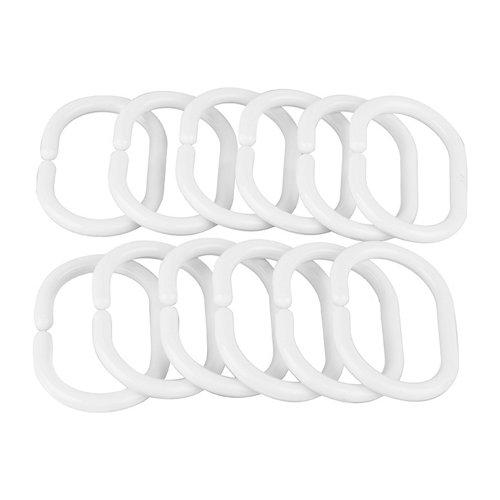 Anillas cortina de baño ovalada blanco en plástico 12 unid