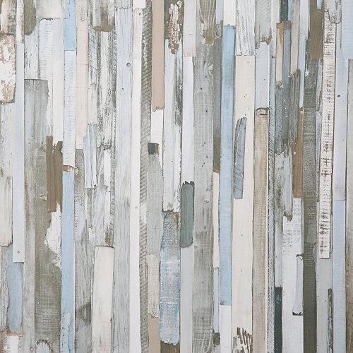 Papel pintado tradicional madera tetris marrón
