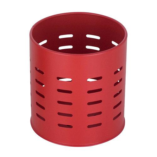 Portacubiertos metálico rojo ø 13 cm y 13,5 cm de alto