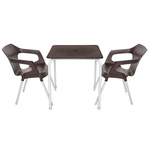 Conjunto de muebles de terraza denia-mónaco de resina para 2 comensales