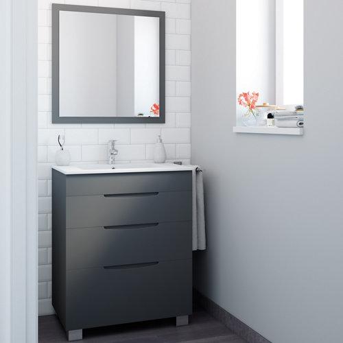Mueble de baño asimétrico gris grafito 70 x 45 cm