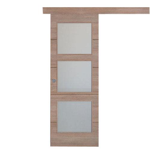 Puerta de interior corredera berna nogal de 62.5 cm