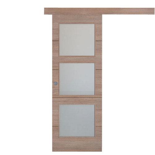 Puerta de interior corredera berna nogal de 72.5 cm