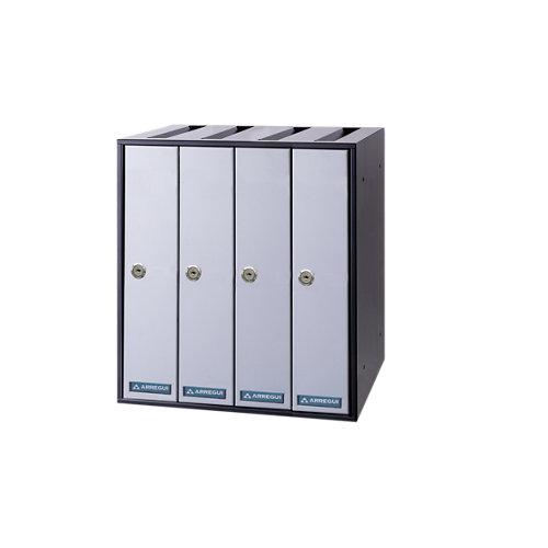 Buzón de acero en gris / plata de 40x35.5x30 cm