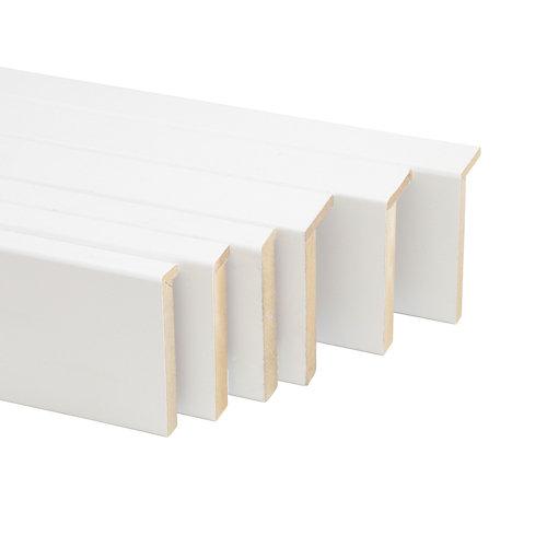 Kit de 5 tapetas en l de madera blanco 80 x 10/12 mm