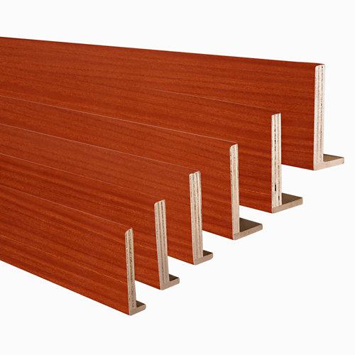 Kit de 6 tapetas en l de madera sapelly 80 x 10-80 x 12 mm
