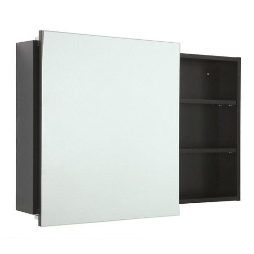 Armario de baño con espejo alicia negro 80x58x12 cm