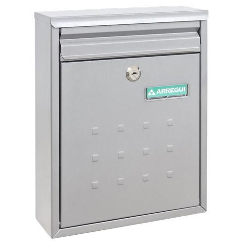 Buzón de acero en gris / plata de 32x25x10 cm