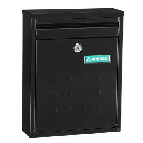 Buzón de acero en negro de 32x25x10 cm