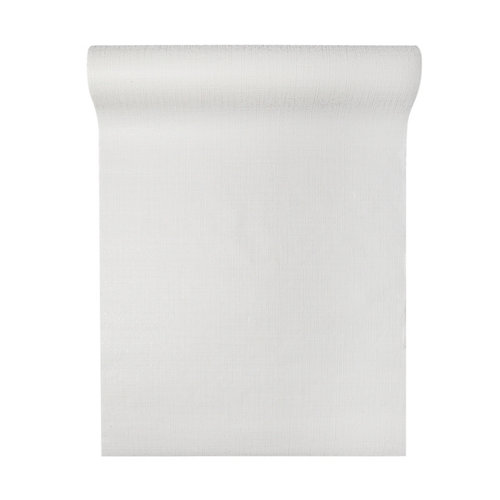 Papel pintado vinílico liso textil blanco